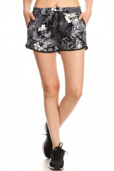 BLACK/WHITE TROPICAL PRINT BRUSH POLY TRACK SHORTS#YD8SH20-01