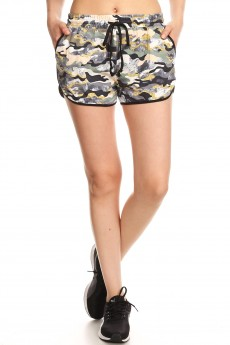 BLACK MULTI ABSTRACT CAMO PRINT BRUSH POLY TRACK SHORTS#YD8SH20-09