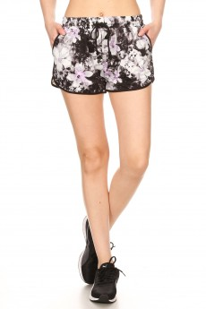 BLK/WHT/LAV ABSTRACT FLORAL PRINT BRUSH POLY TRACK SHORTS#YD8SH20-10