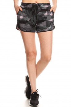 BLACK/MAUVE ABSTRACT GEO PRINT BRUSH POLY TRACK SHORTS#YD8SH20-11