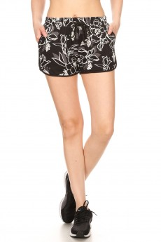 BLACK/MULTI TROPICAL PRINT BRUSH POLY TRACK SHORTS#YD8SH20-12