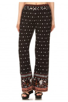 BLACK/RED/WHITE ELEPHANT BORDER PRINT STRAIGHT LEG PANTS#8SLP01-01