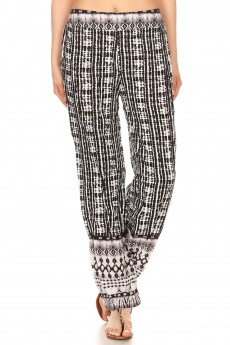 BLACK/WHITE TIE DYE BORDER PRINT STRAIGHT LEG PANTS #8SLP01-03
