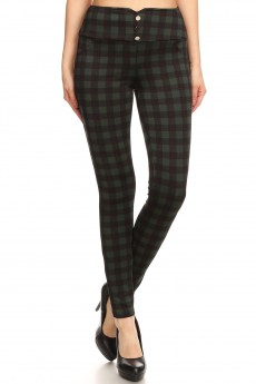 DARK GREEN/BLACK/RED PLAID PRINT FRONT METAL BUTTON TREGGING W/FRONT POCKETS#YD8TRG05-04