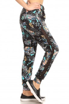 BLACK/MINT/MULTI TROPICAL PRINT MESH OVERLAY SIDE PANEL JOGGER#YD8TRK23-02
