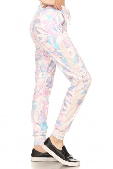 WHITE/MULTI ABSTRACT GEO PRINT MESH OVERLAY SIDE PANEL JOGGER#YD8TRK23-04