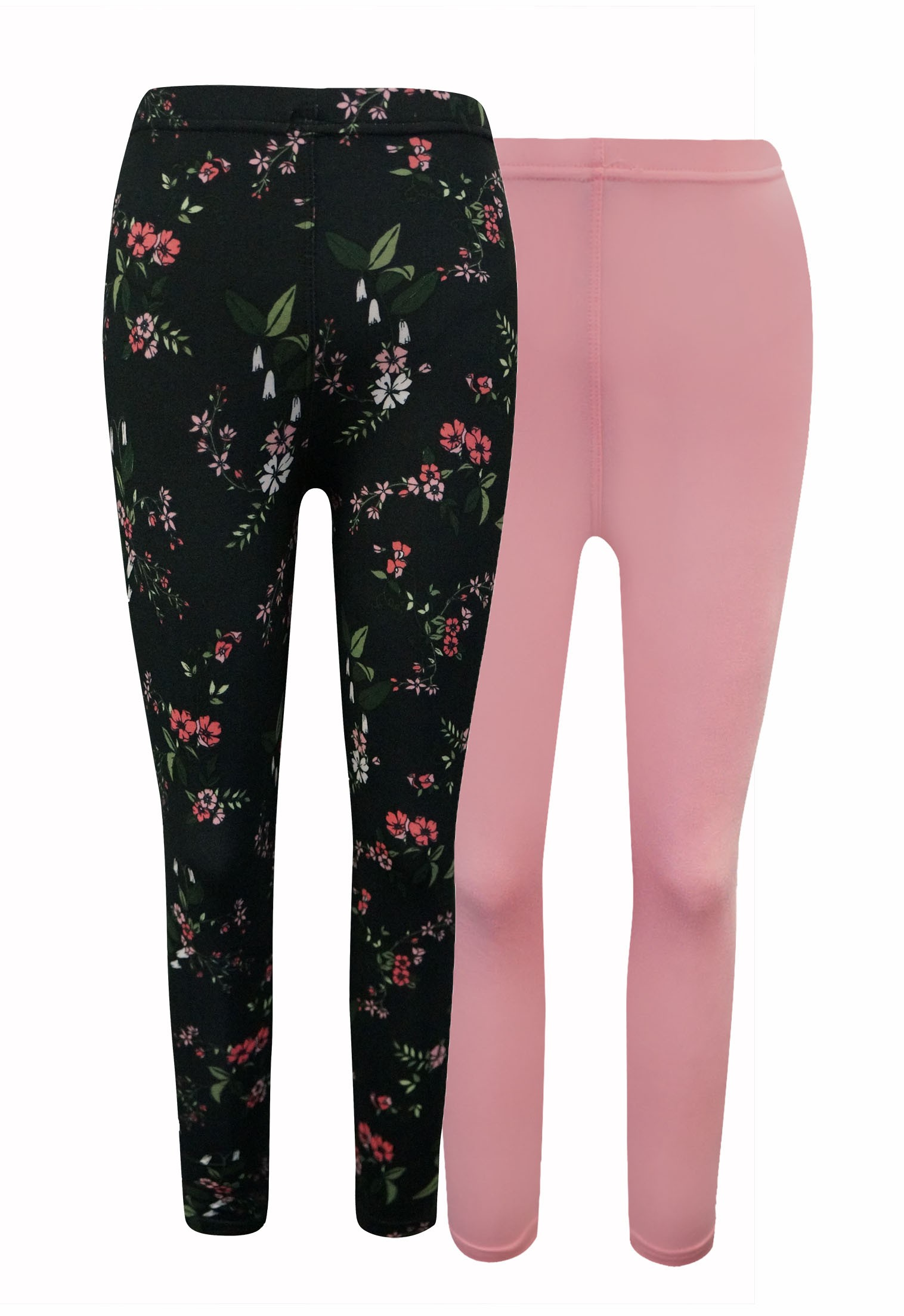 KIDS NAVY, PINK FLORAL PRINT BRUSH POLY LEGGING (2 PACK)(7/8, 10/12)#X2K8L54-09