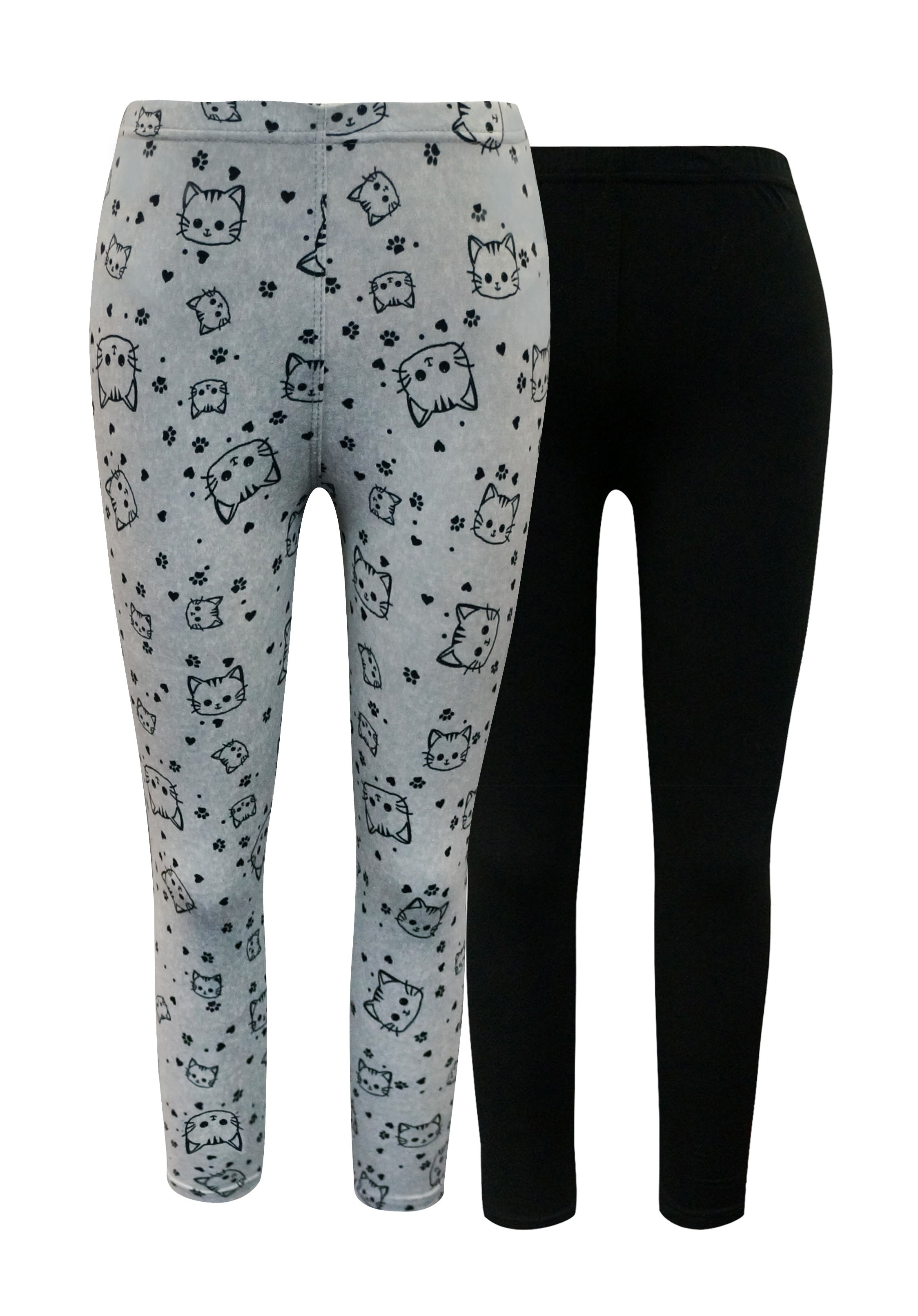 KIDS 2PACK SOLID BLACK & HEATER GREY CAT PRINT BASIC LEGGING(4/5, 6/6X) #2K8L54-11