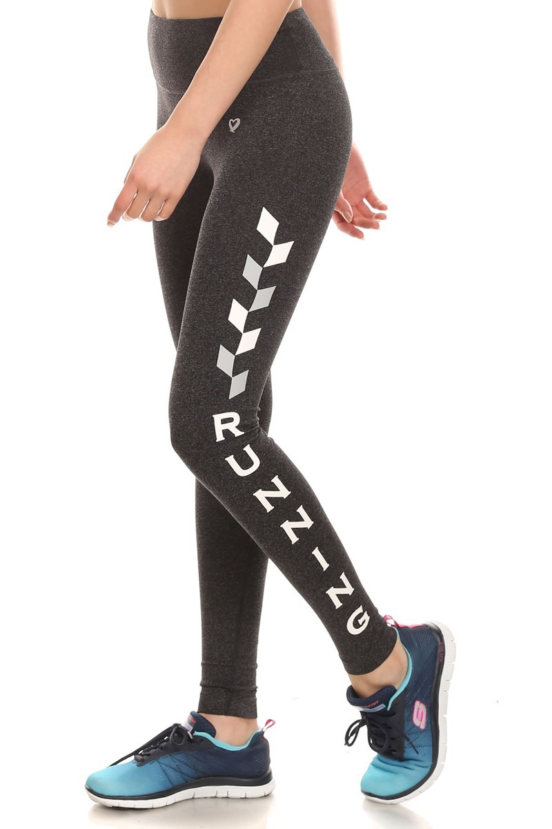 H. CHARCOALWHITE/GREY (RUNNING) ACTIVE WORDING LEGGINGS #6AL03-04