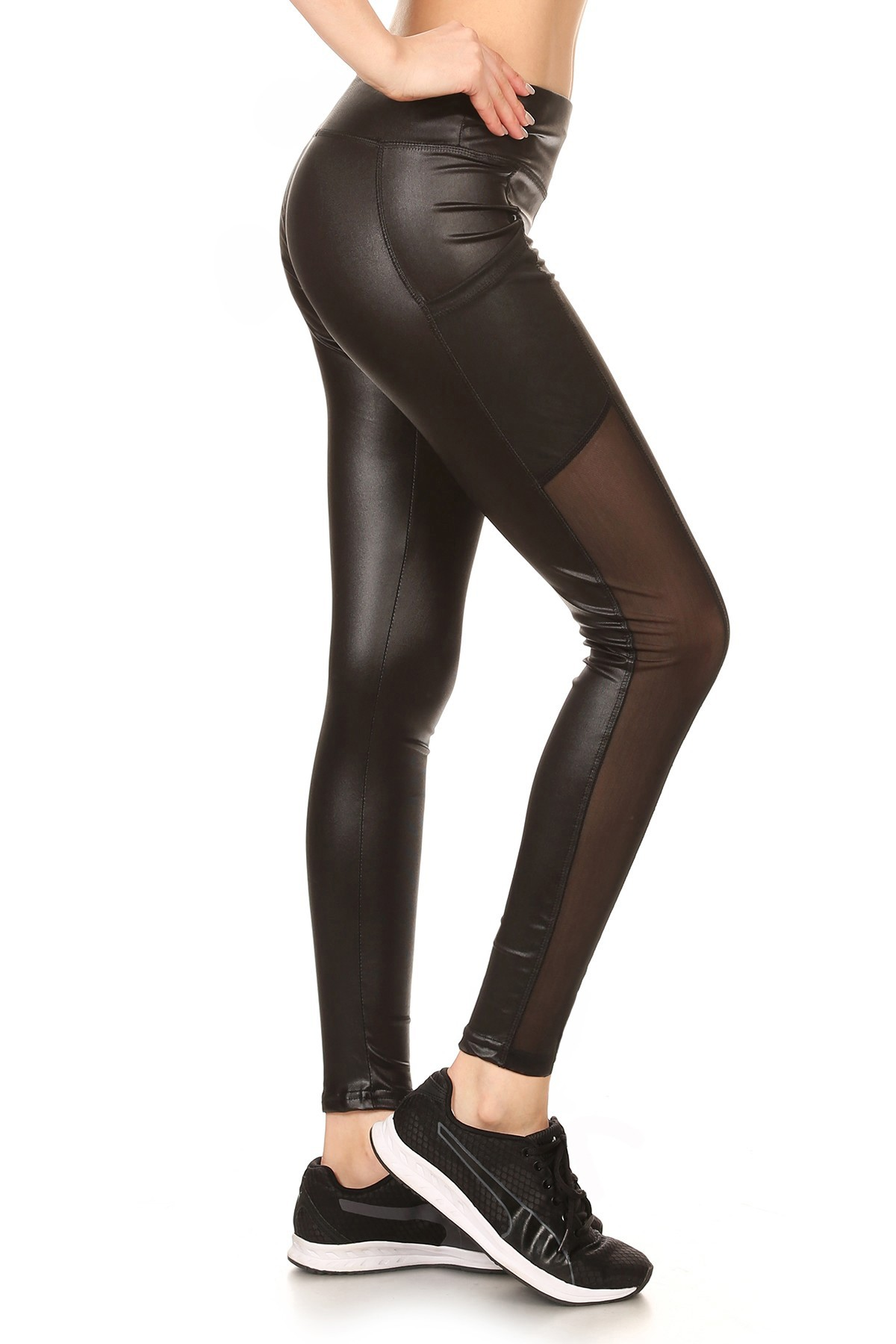BLACK PU LEGGING WITH MESH SIDE POCKET PANELS #7L95