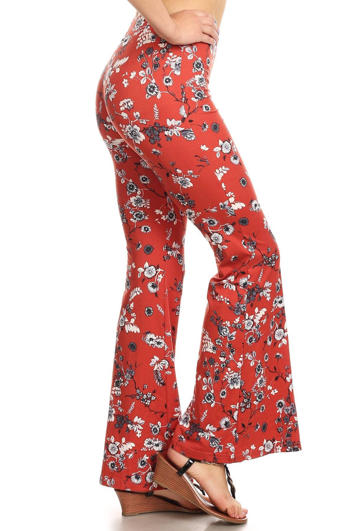 FLORAL PRINT BRUSH POLY FLARE PANTS#8FP01-11