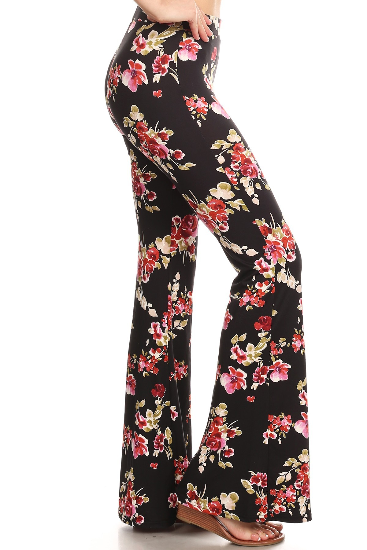 BLACK/PINK/GREEN FLORAL PRINT BRUSH POLY FLARE PANTS#8FP01-36
