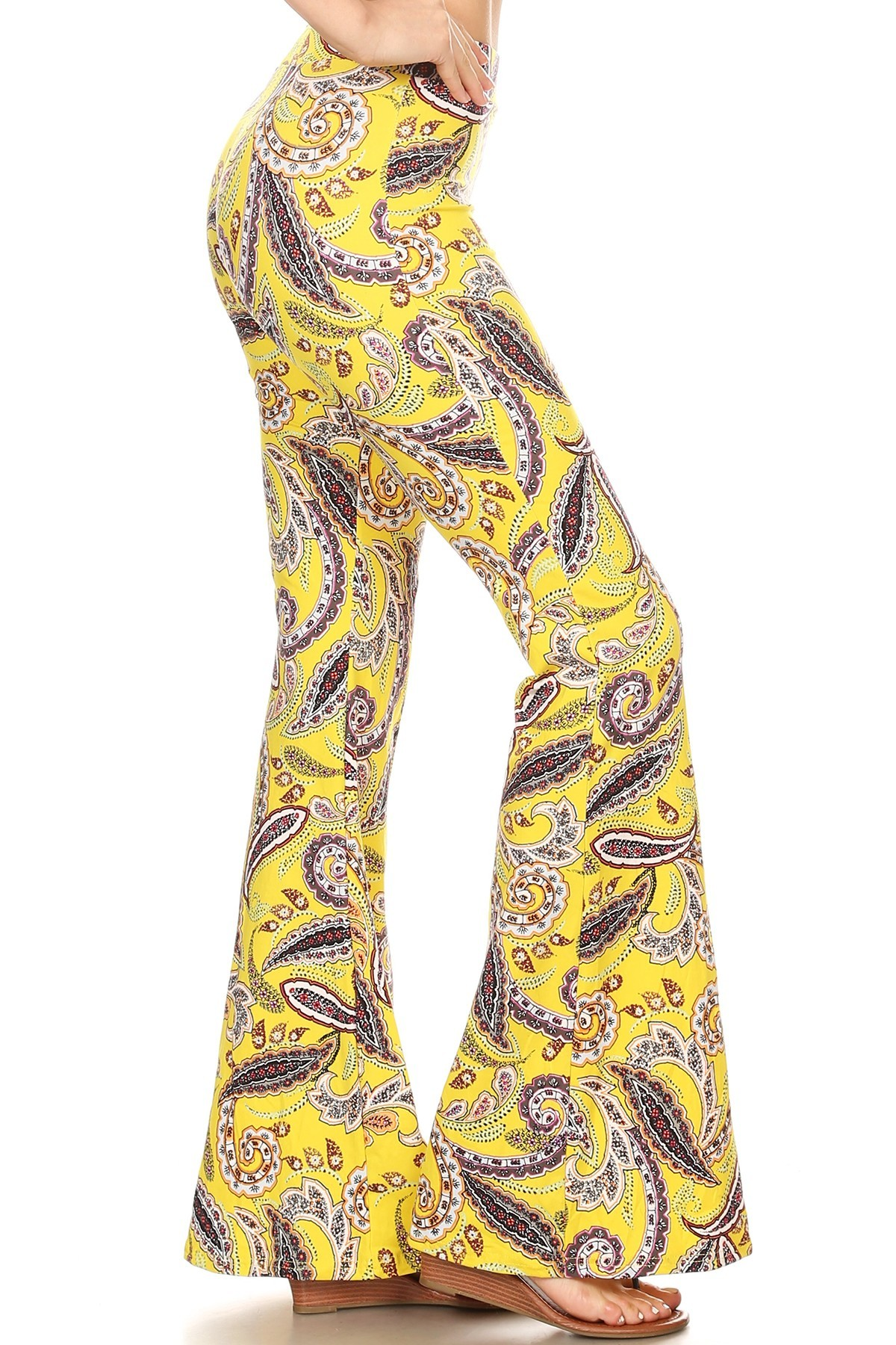 YELLOW PAISLEY PRINT BRUSH POLY FLARE PANTS#8FP01-38