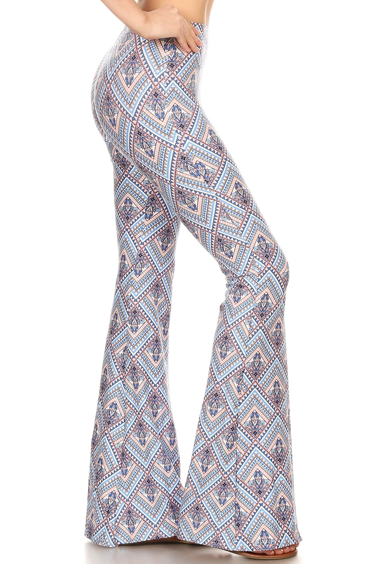 BLUE/PEACH BOHO PRINT BRUSH POLY FLARE PANTS#8FP01-40