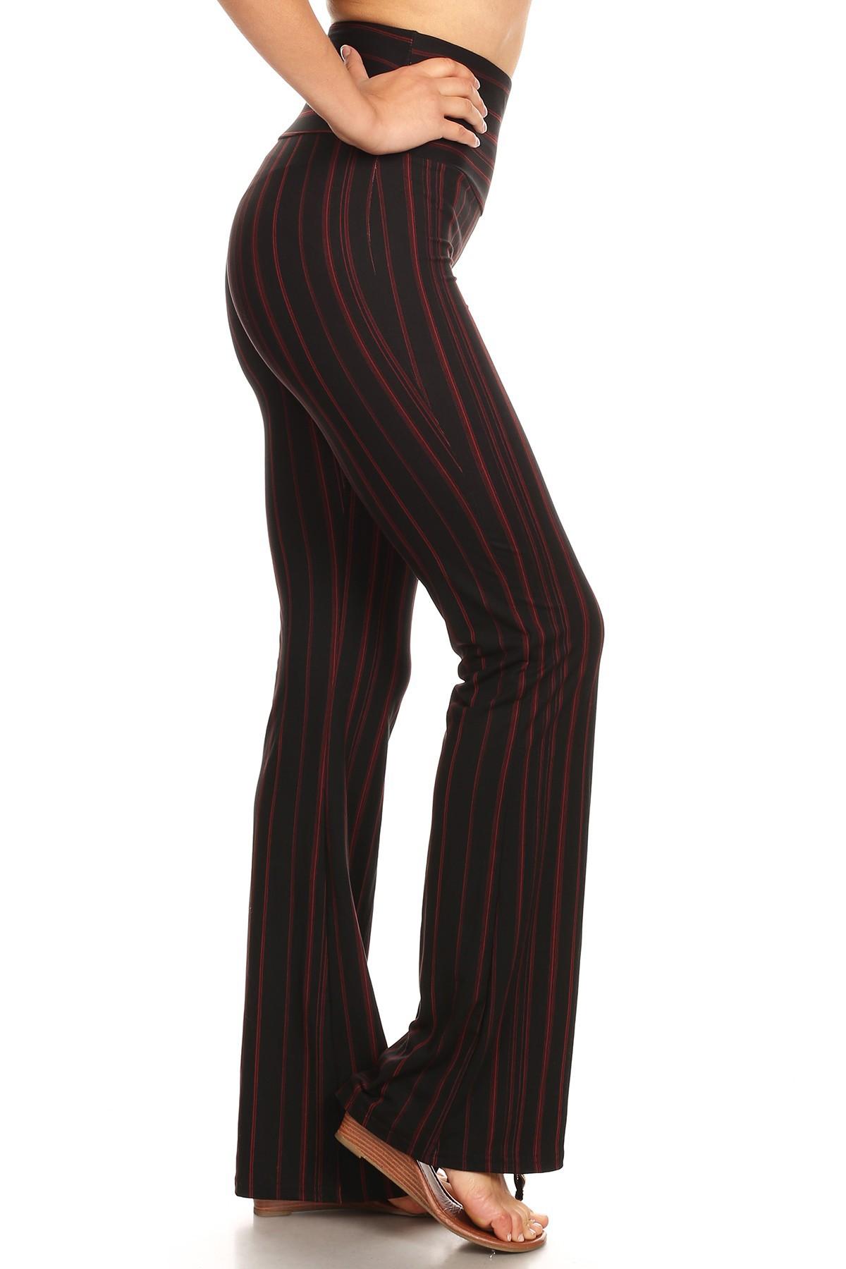 BLACK/RED STRIPE PRINT HIGH WAIST BRUSH POLY FLARE PANTS#8FP06-01