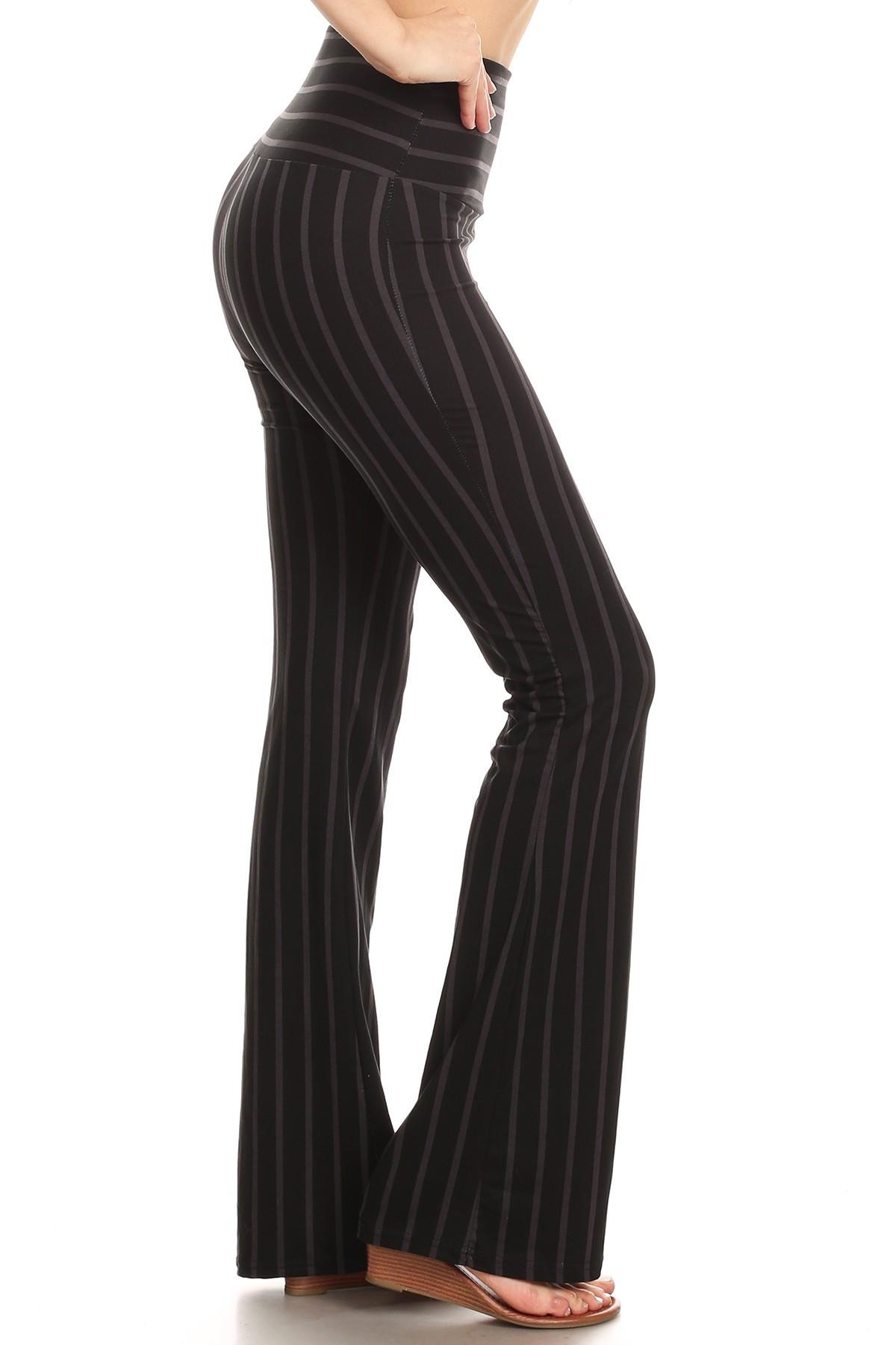 BLACK/DARK GREY STRIPE PRINT HIGH WAIST BRUSH POLY FLARE PANTS#8FP06-02