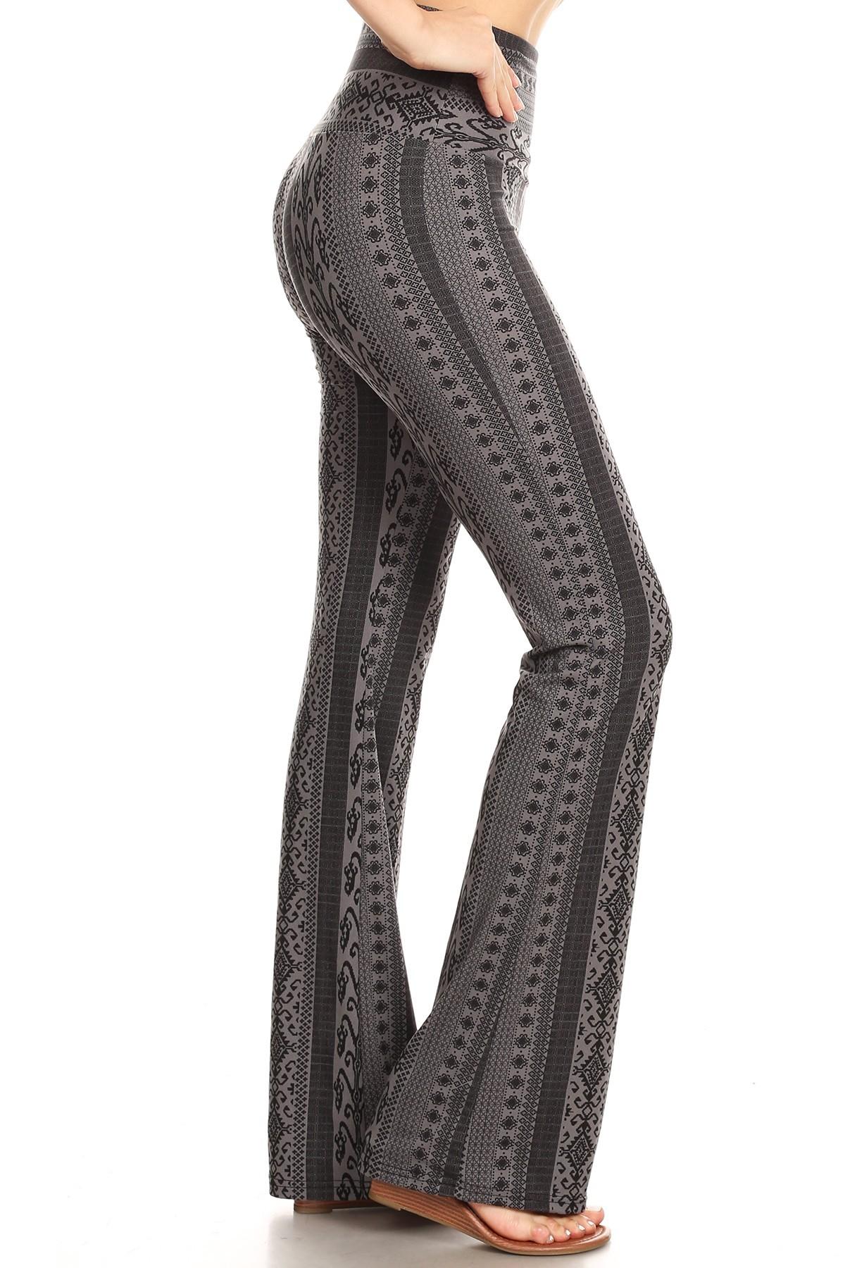 GREY/BLACK BOHO PRINT HIGH WAIST BRUSH POLY FLARE PANTS#8FP06-07