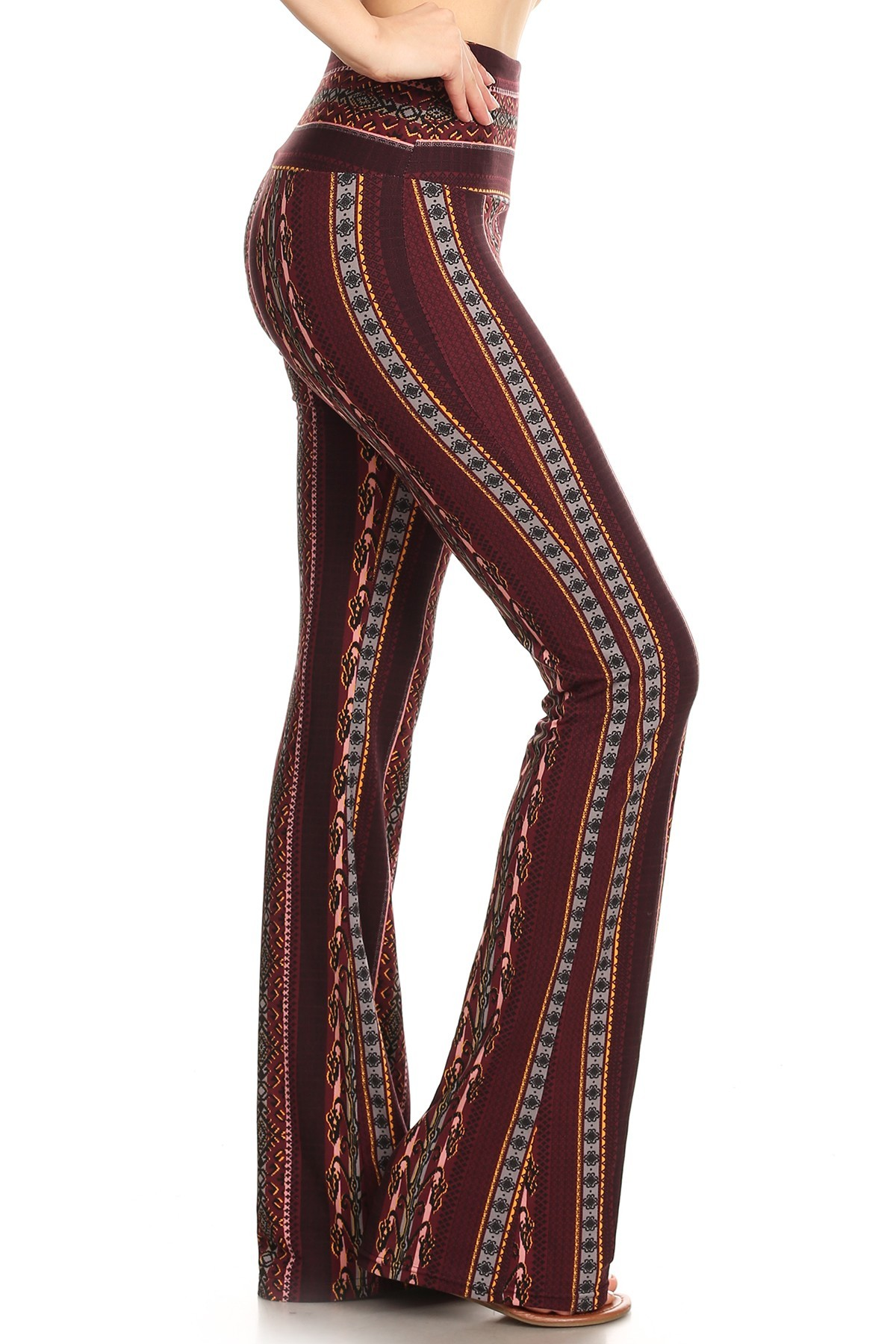 BROWN/KHAKI BOHO PRINT HIGH WAIST BRUSH POLY FLARE PANTS#8FP06-08