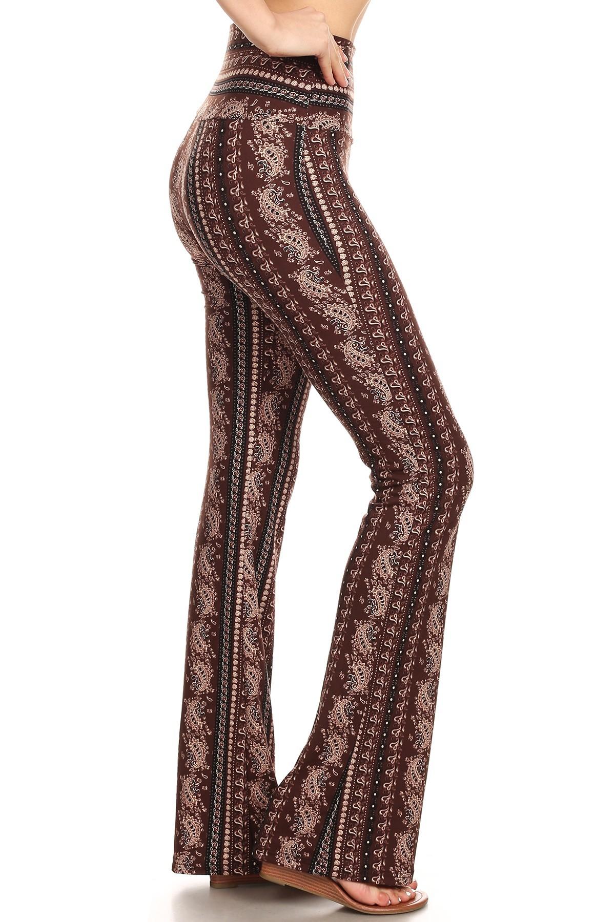 BROWN/TAN PAISLEY PRINT HIGH WAIST BRUSH POLY FLARE PANTS#8FP06-10