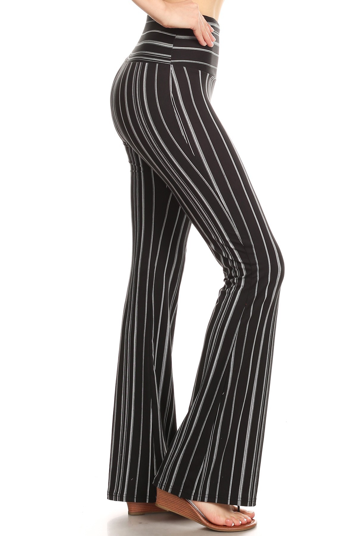 BLACK/WHIET STRIPED PRINT HIGH WAIST BRUSH POLY FLARE PANTS#8FP06-13