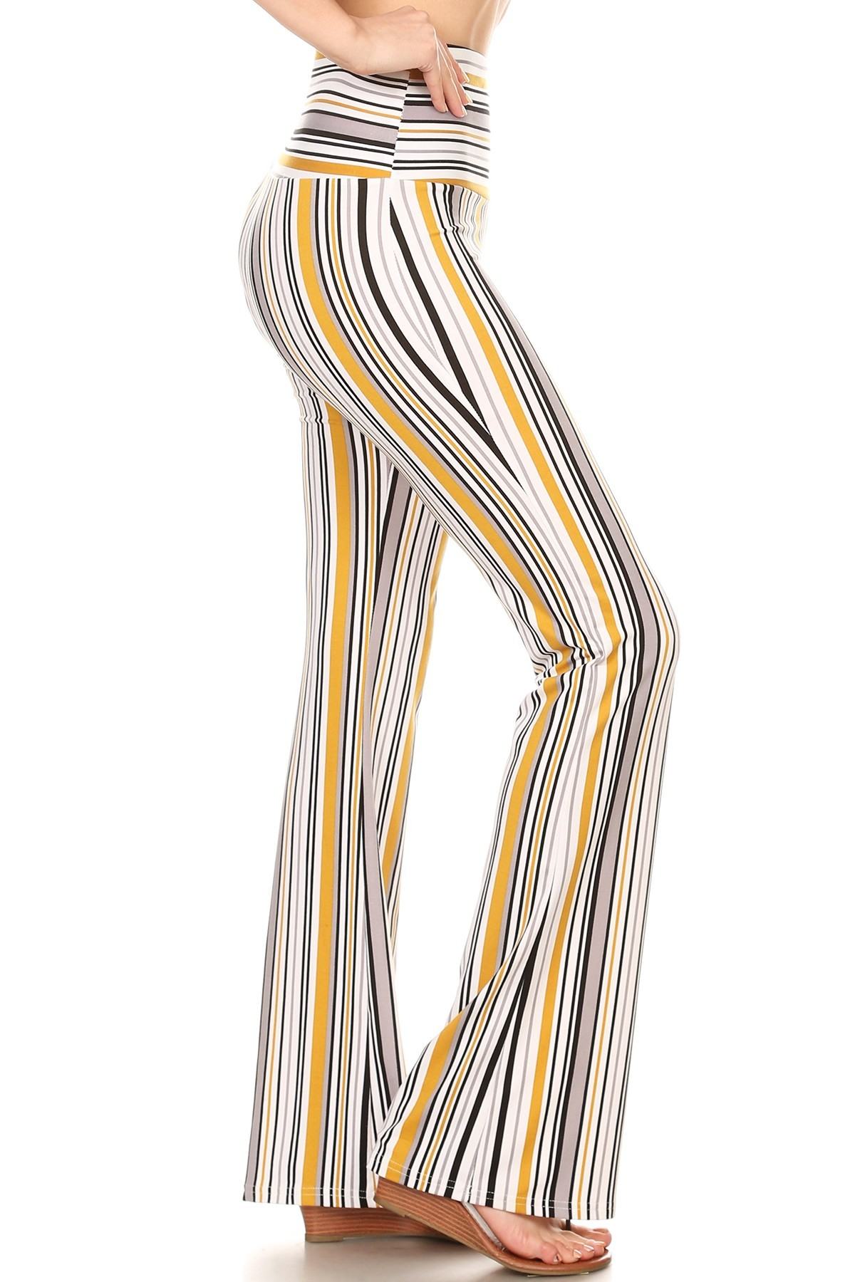 WHITE/MUSTARD/BLACK STRIPE PRINT HIGH WAIST FLARE PANTS#8FP06-SP24
