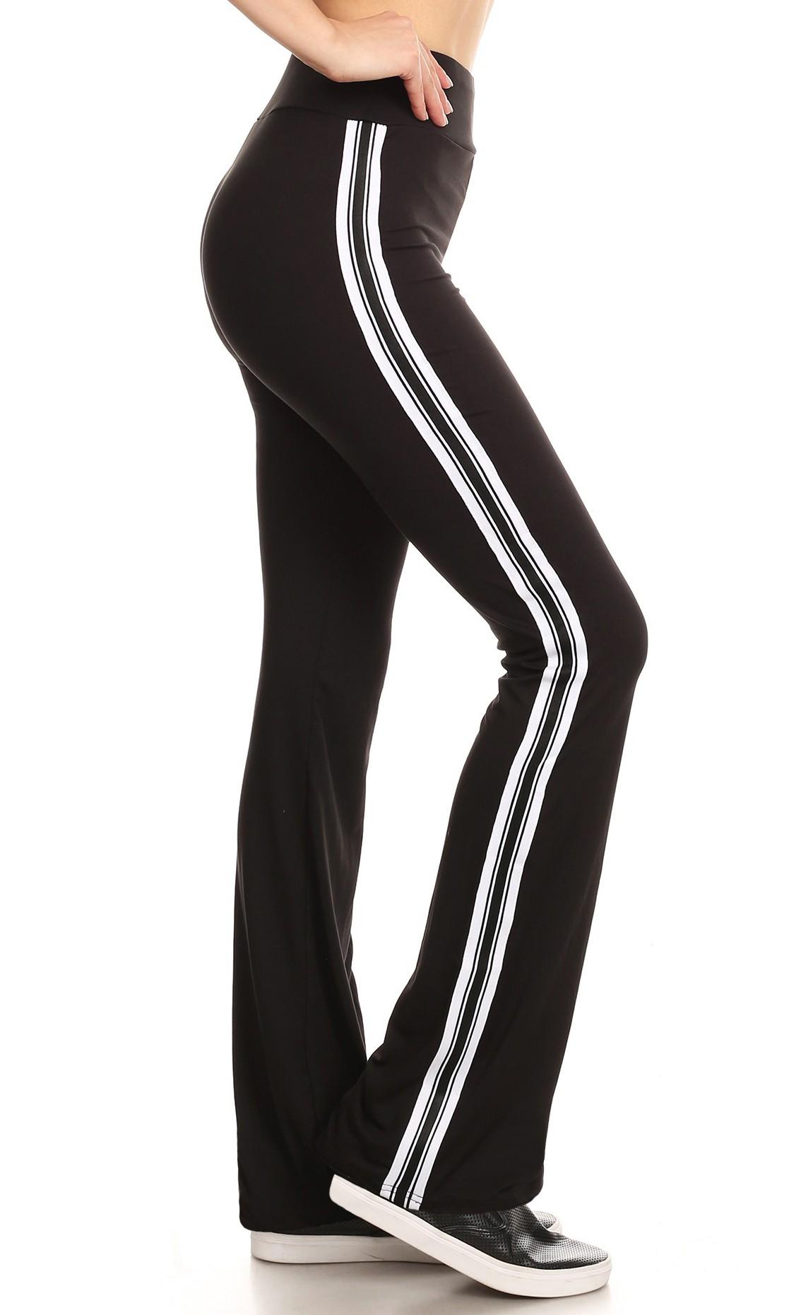 BLACK FLARE PANTS W/ SIDE WHITE/BLACK TAPING#8FP07-03