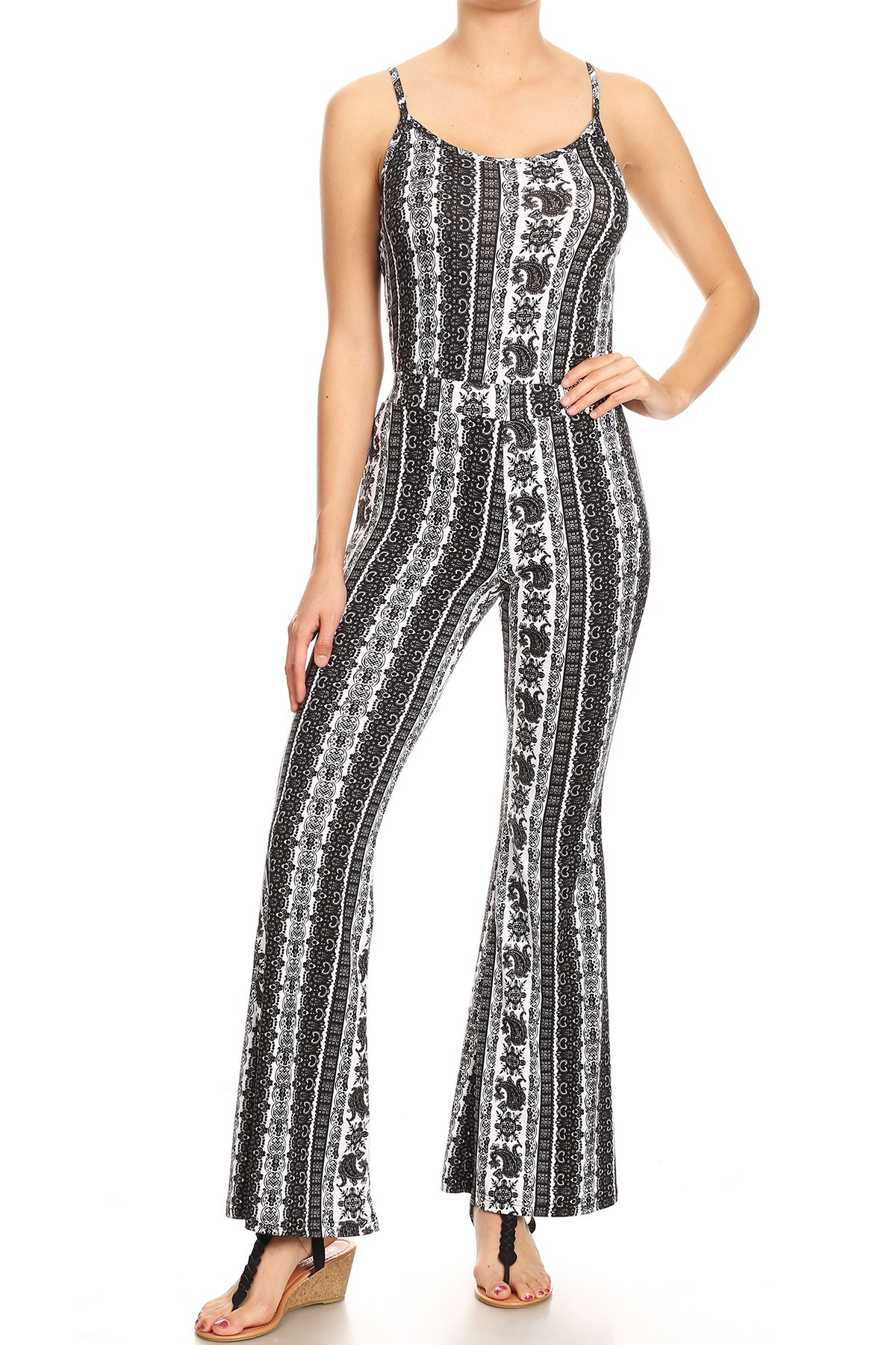 BLACK/WHITE BOHO PRINT FLARE JUMPSUIT WITH CAMI TOP#8JPS01-BH04