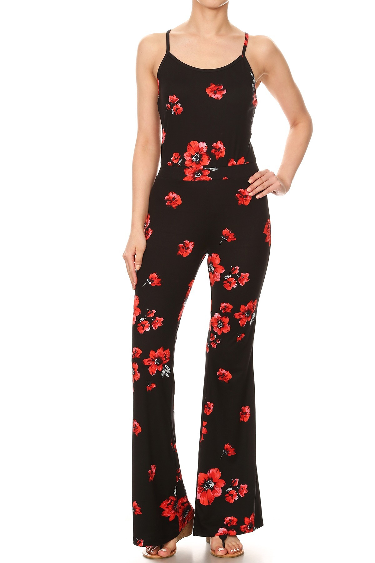 BLACK/RED FLORAL PRINT FLARE JUMPSUIT WITH CAMI TOP#8JPS01-FL01