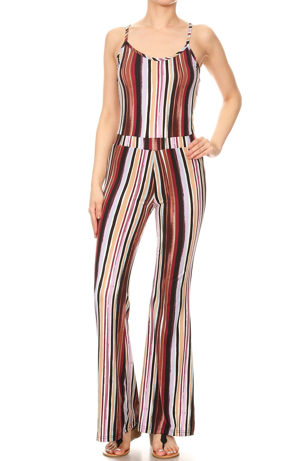 MULTI COLOR STRIPE PRINT RAYON TUBE TOP CROPPED JUMPSUIT#8JPS01-SP20