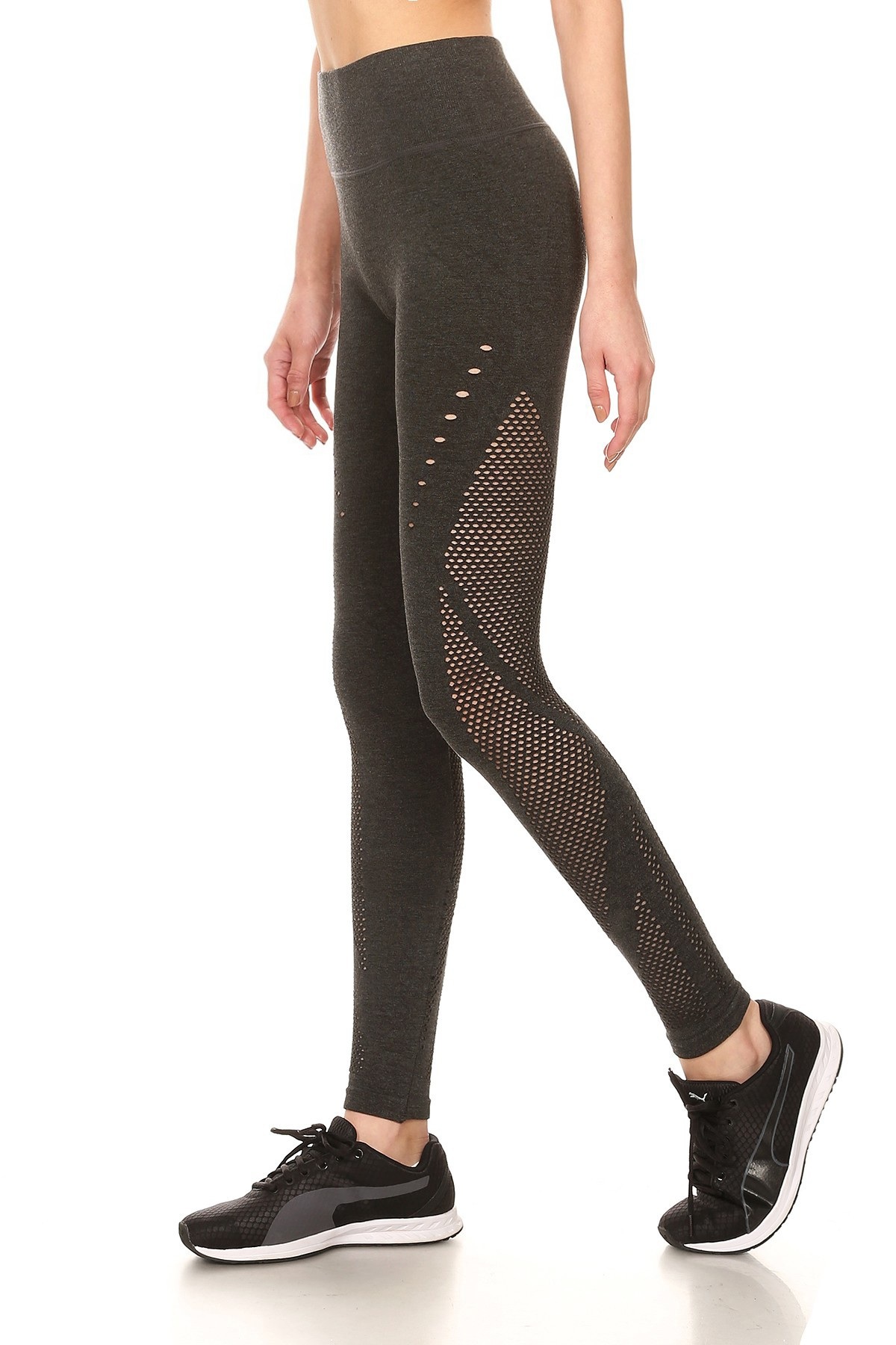 HEATHER CHARCOAL SEAMLESS HIGH WAIST LEGGING W/ FISH NET PANELS#8L16