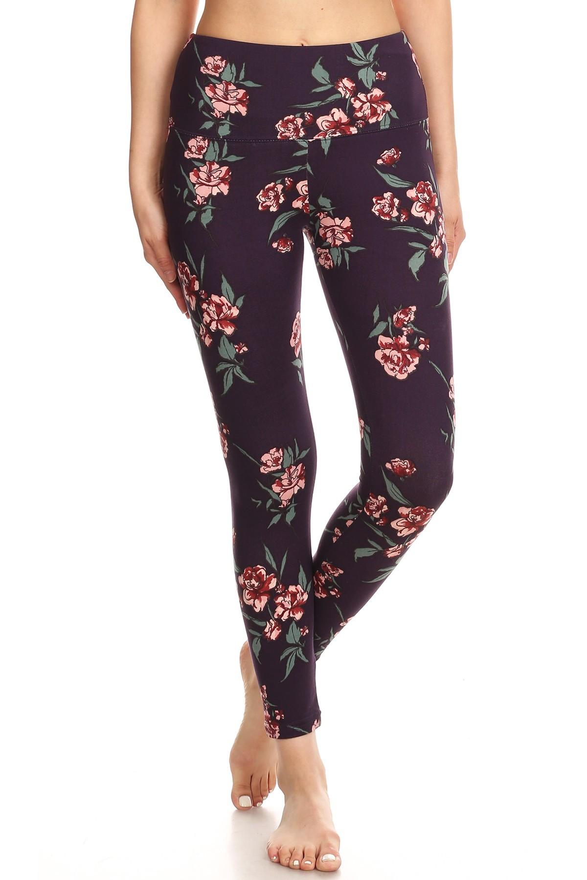 GRAPE/RED FLORAL PRINT HIGH WAIST FLEECE LINED ANKLE LEGGING#8L76-05