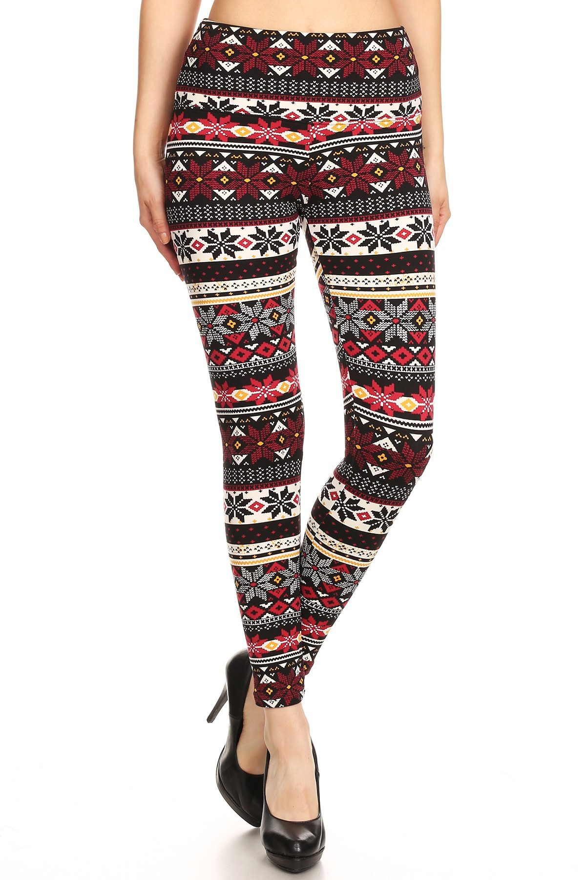 BLACK/WINE REINDEER PRINT HIGH WAIST FLEECE LINED ANKLE LEGGING #8L76-25