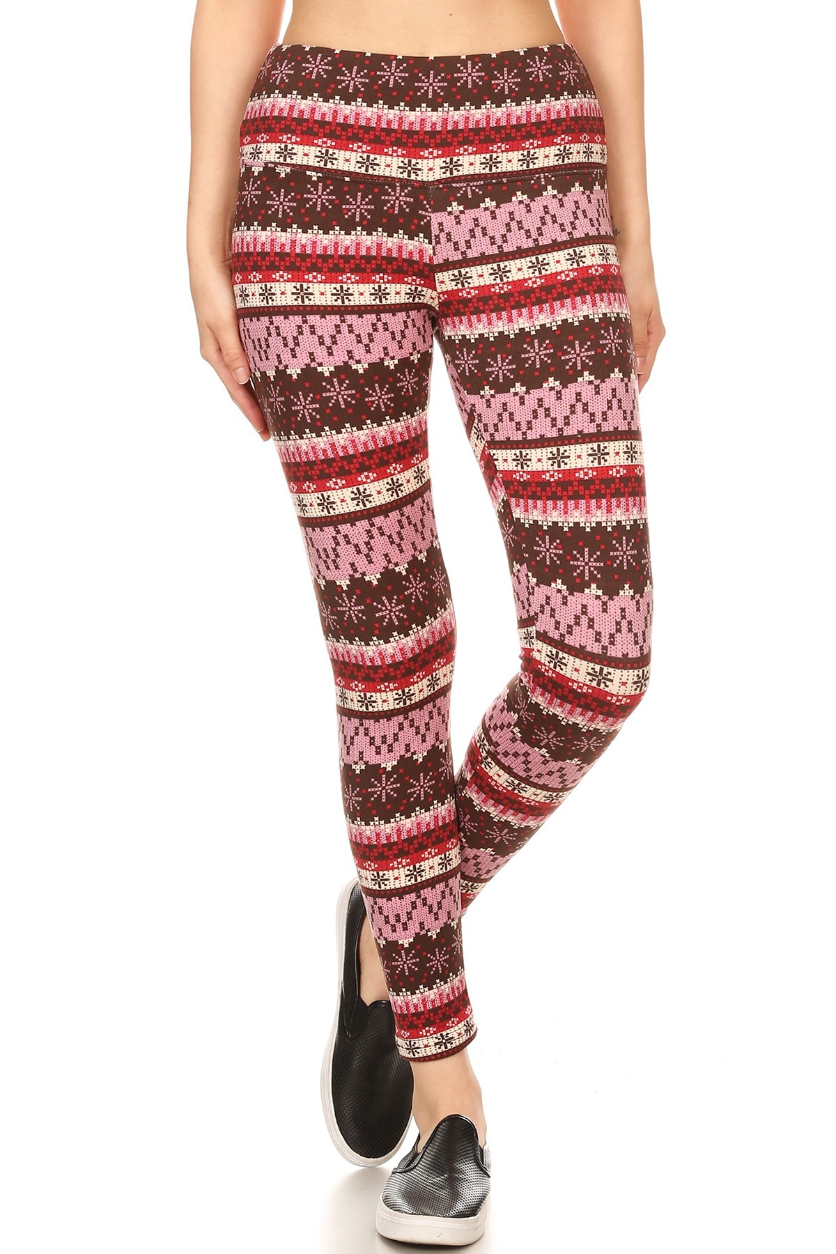 BLACK/RED FAIRISLE PRINT HIGH WAIST FLEECE LINED ANKLE LEGGING #8L76-27