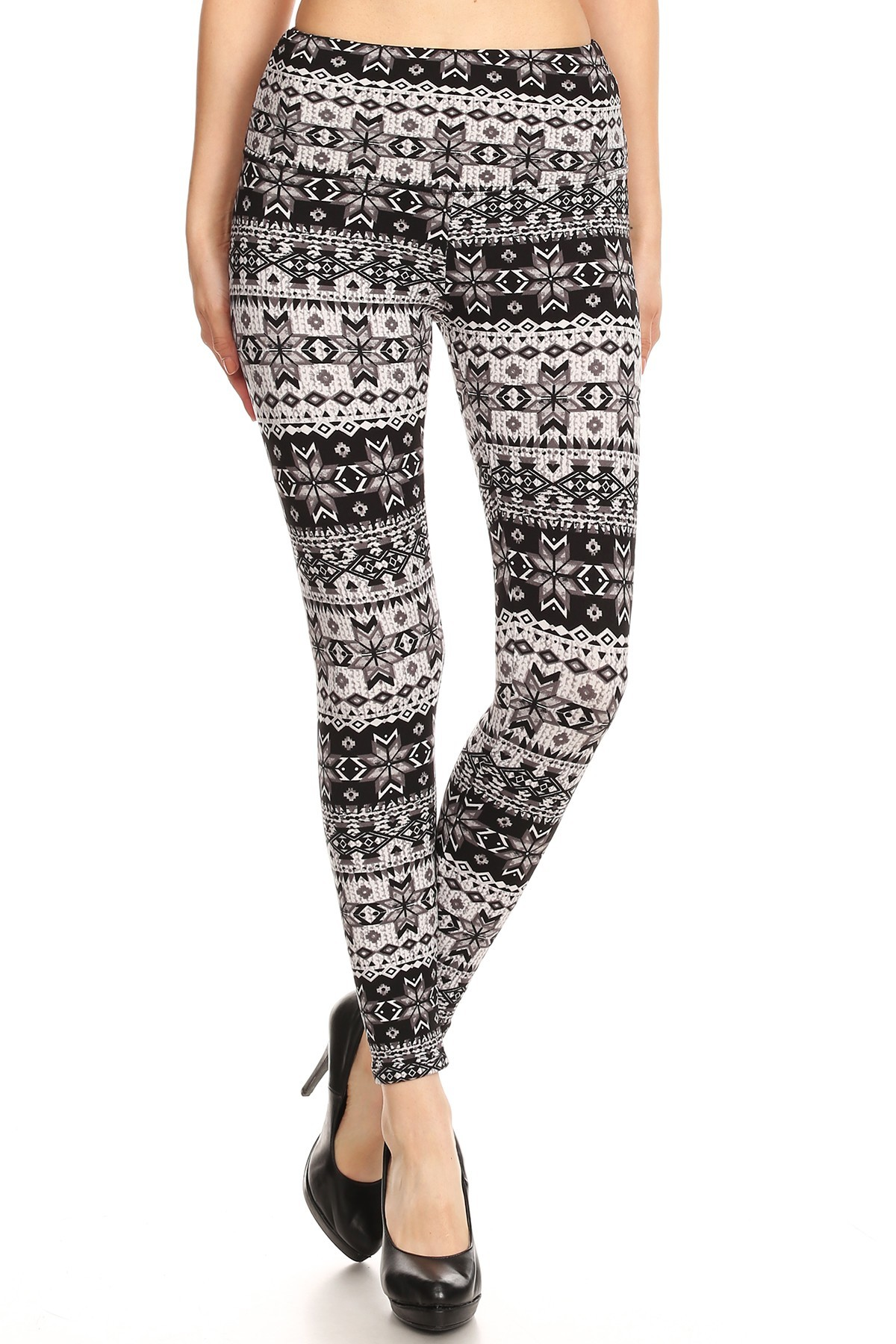 BLACK/GREY FAIRISLE PRINT HIGH WAIST FLEECE LINED ANKLE LEGGING#8L76-31