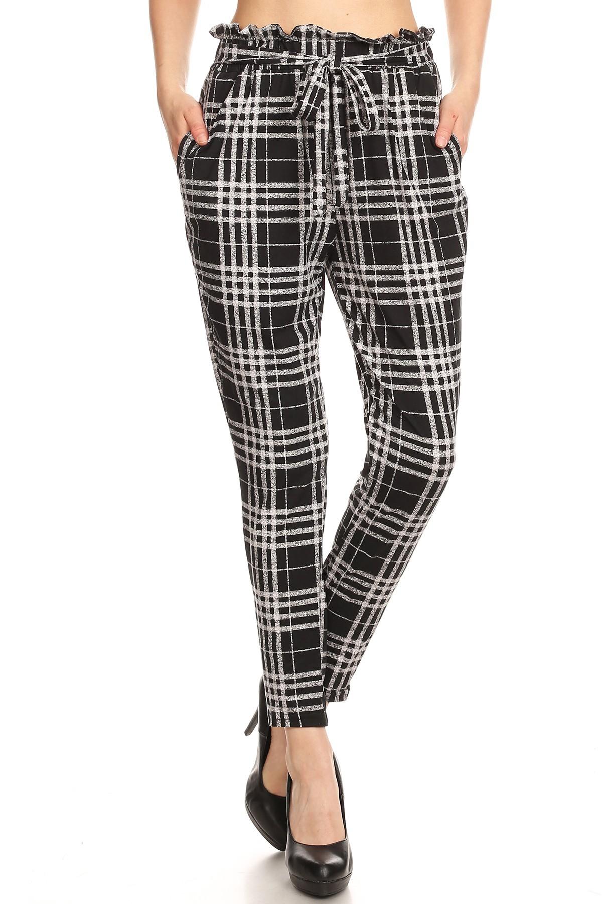 BLACK/GREY PLAID PRINT PAPER BAG WAIST PANTS #8PNT03-01