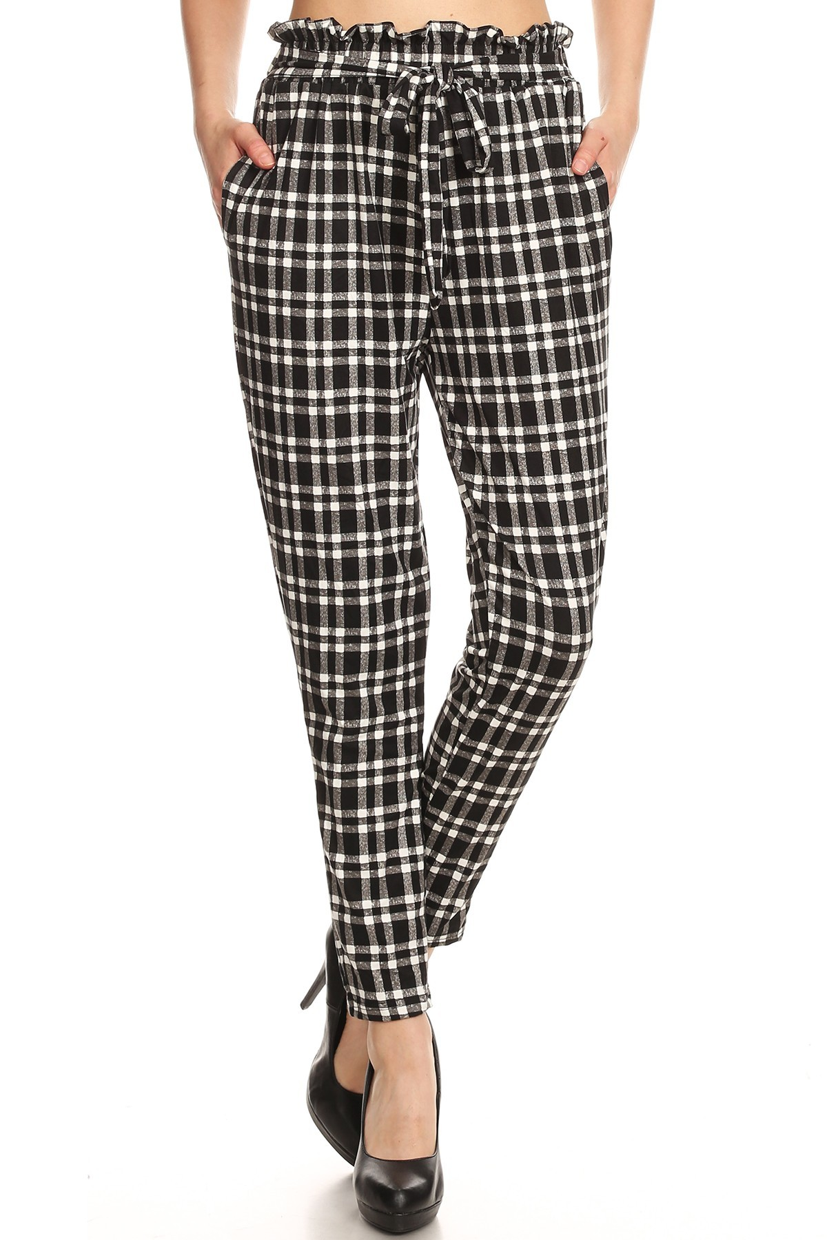 BLACK/WHITE PLAID PRINT PAPER BAG WAIST PANTS#8PNT03-02