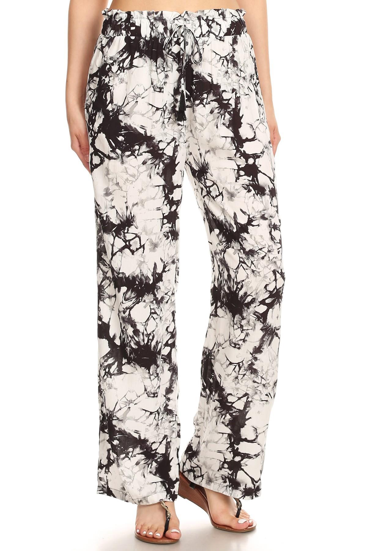 BLACK/WHITE TIE DYE PRINT PAPER BAG WAIST STRAIGHT LEG PANTS#8SLP05-07