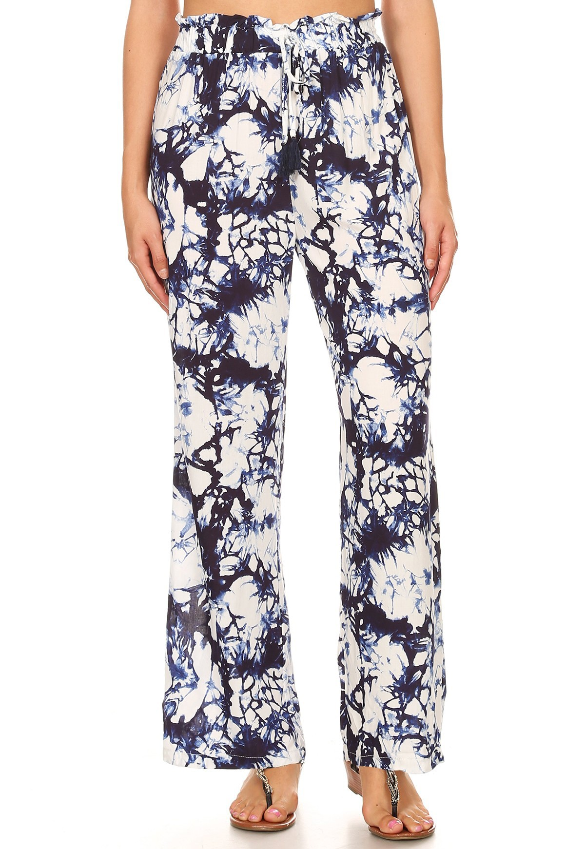 NAVY/WHITE TIE DYE PRINT PAPER BAG WAIST STRAIGHT LEG PANTS #8SLP05-08