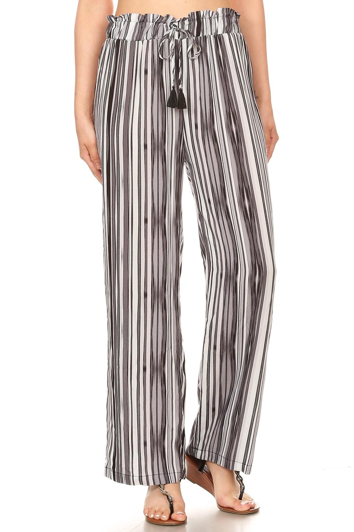 BLACK/GREY/WHITE STRIPE PRINT PAPER BAG WAIST STRAIGHT LEG PANTS#8SLP05-12