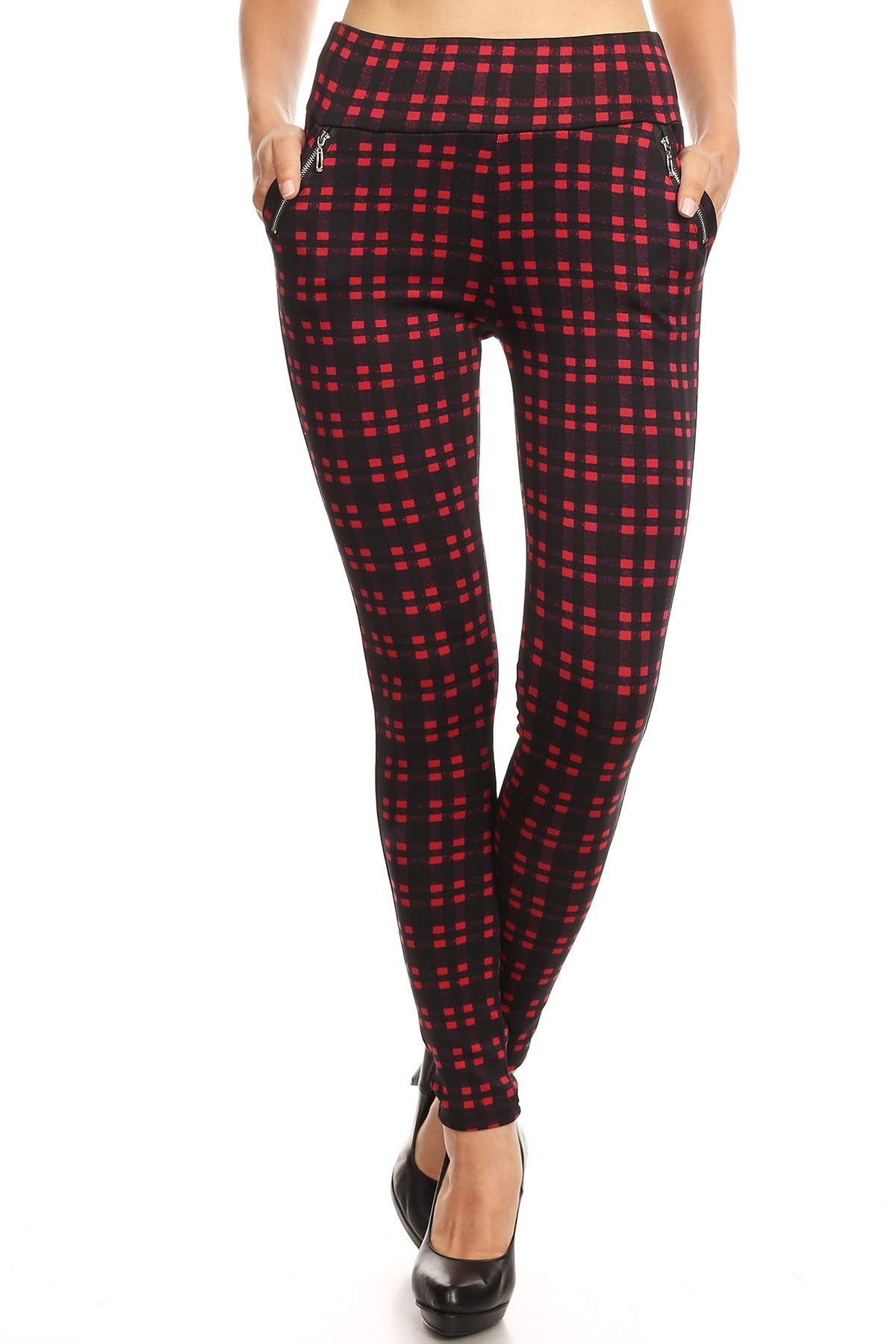 BLACK/RED PLAID PRINT TREGGING WITH ZIPPER DETAIL #8TRG03-11
