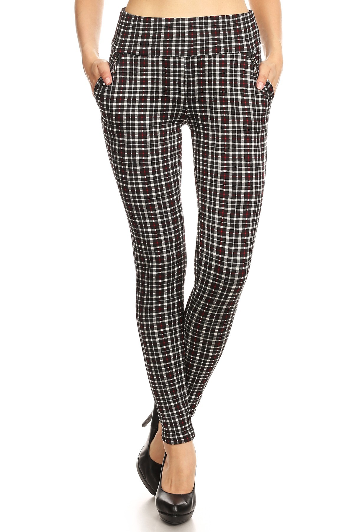 BLACK/WHITE/RED PLAID PRINT TREGGING WITH ZIPPER DETAIL#8TRG03-12
