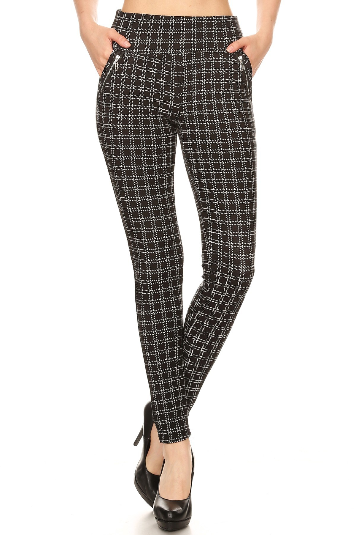 BLACK/WHITE PLAID PRINT TREGGING WITH ZIPPER DETAIL#8TRG03-13
