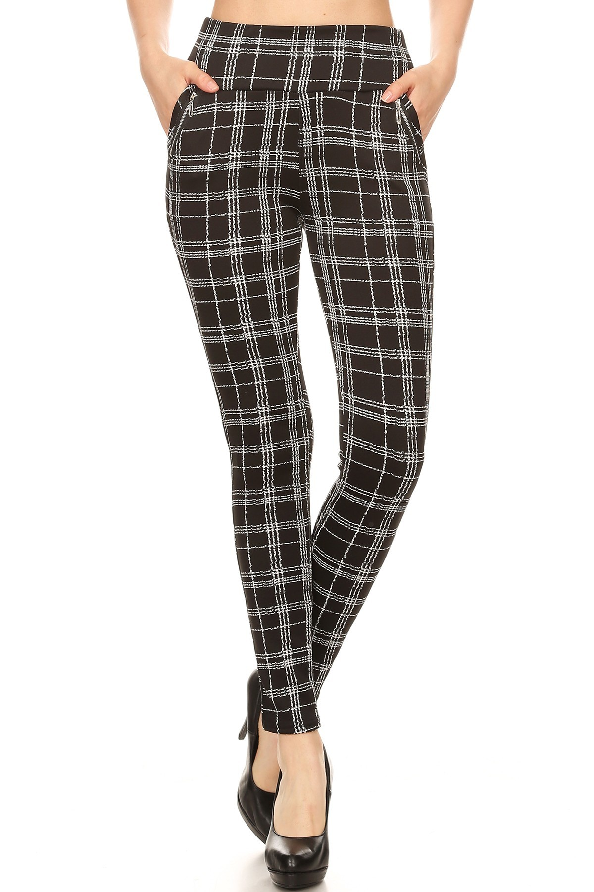 BLACK/WHITE PLAID PRINT TREGGING WITH ZIPPER DETAIL#8TRG03-14