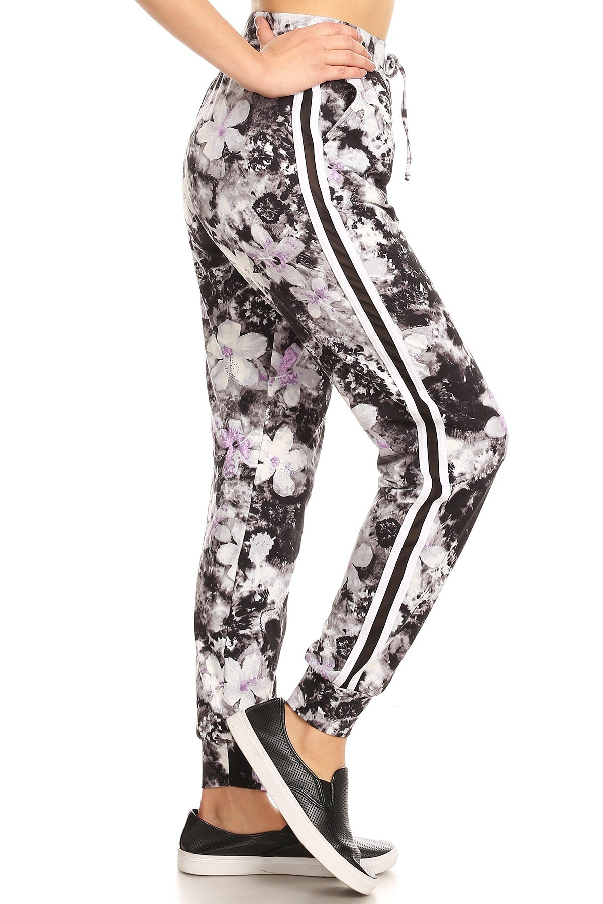 BLACKWHITE LAVENDER ABSTRACT FLORAL STRIPED JOGGER W/ SIDE MESH PANELS #8TRK18-02