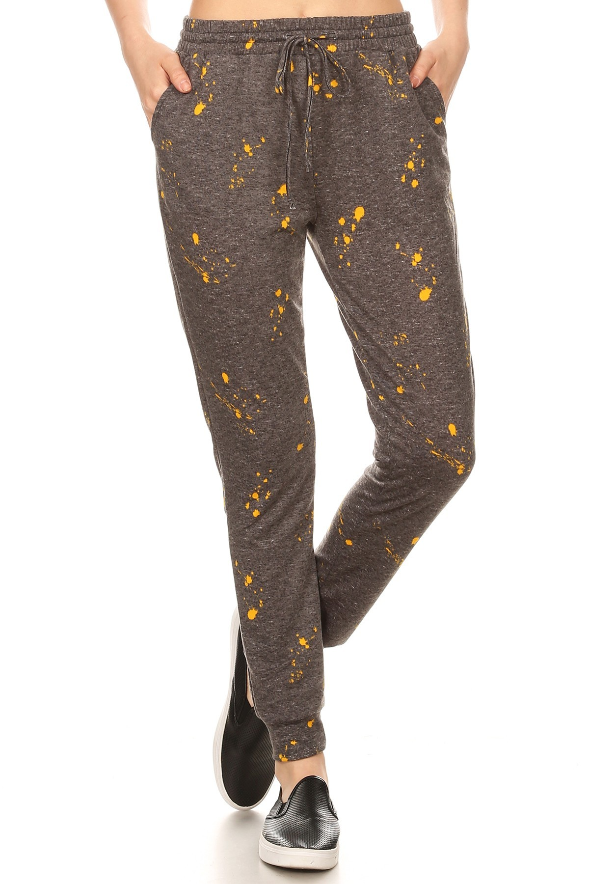 HEATHER CHARCOAL/MUSTARD PAINT SPLASH PRINT SOFT FRENCH TERRY JOGGER#8TRK30-04
