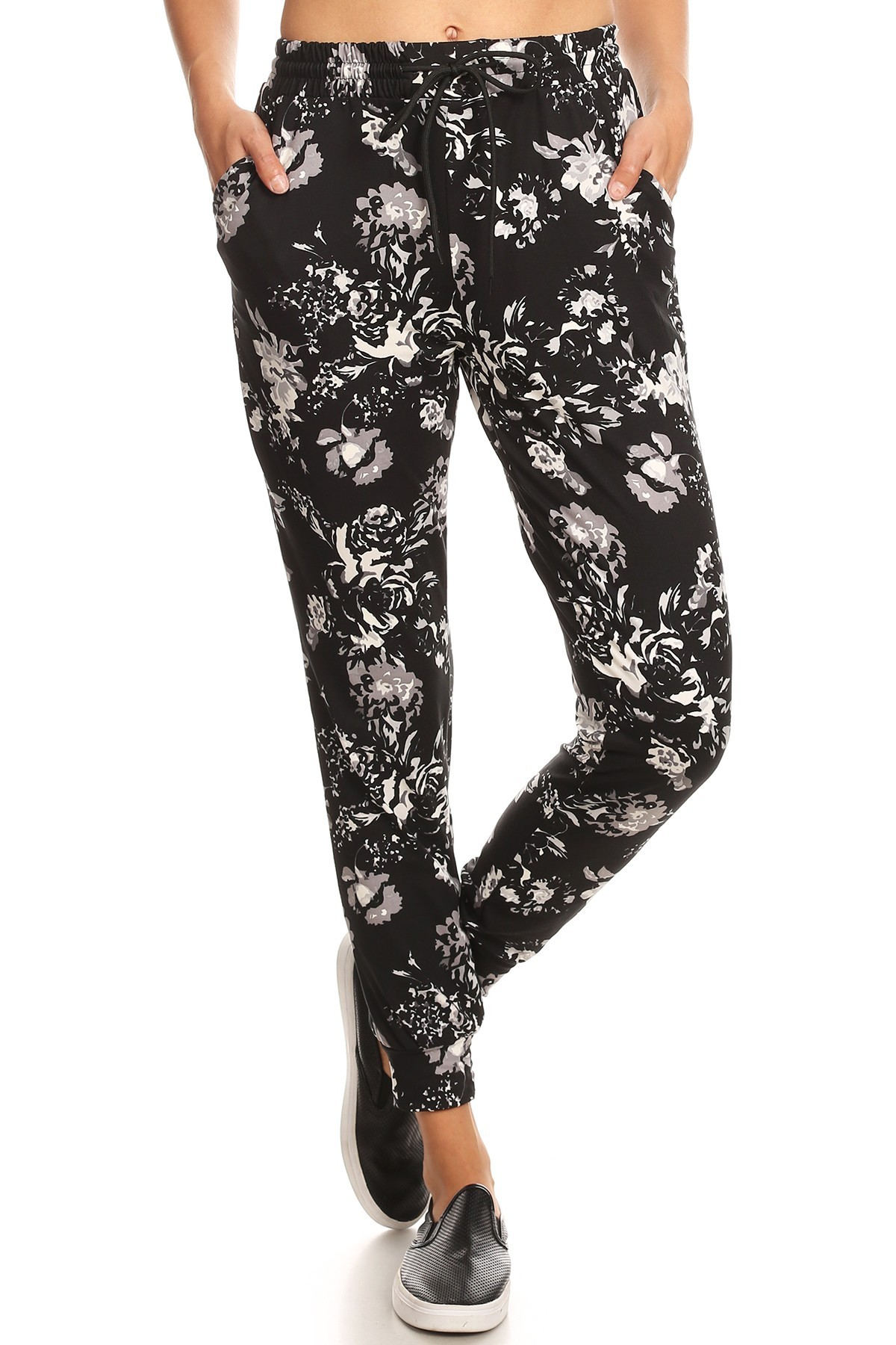 BLACK/WHITE FLORAL PRINT JOGGER WITH SHOE LACE TIE#8TRK36-03