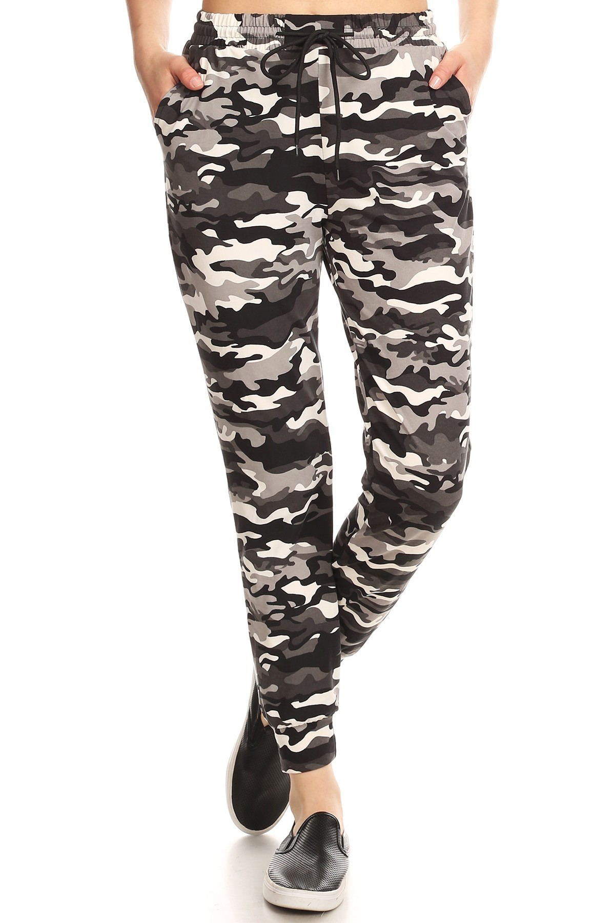BLACK/WHITE/GREY CAMO PRINT JOGGER WITH SHOE LACE TIE #8TRK36-09
