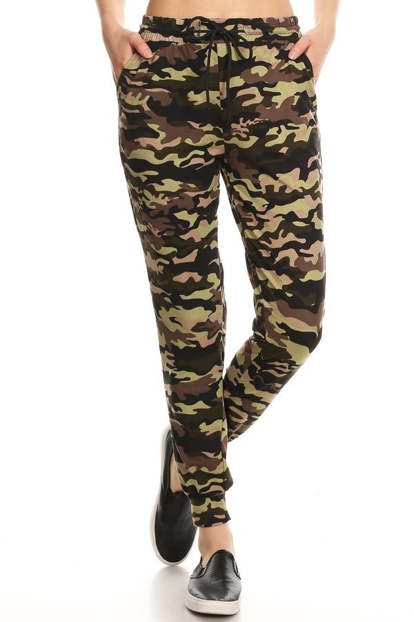 GREEN/BLACK/BROWN CAMO PRINT JOGGER WITH SHOE LACE TIE#8TRK36-10