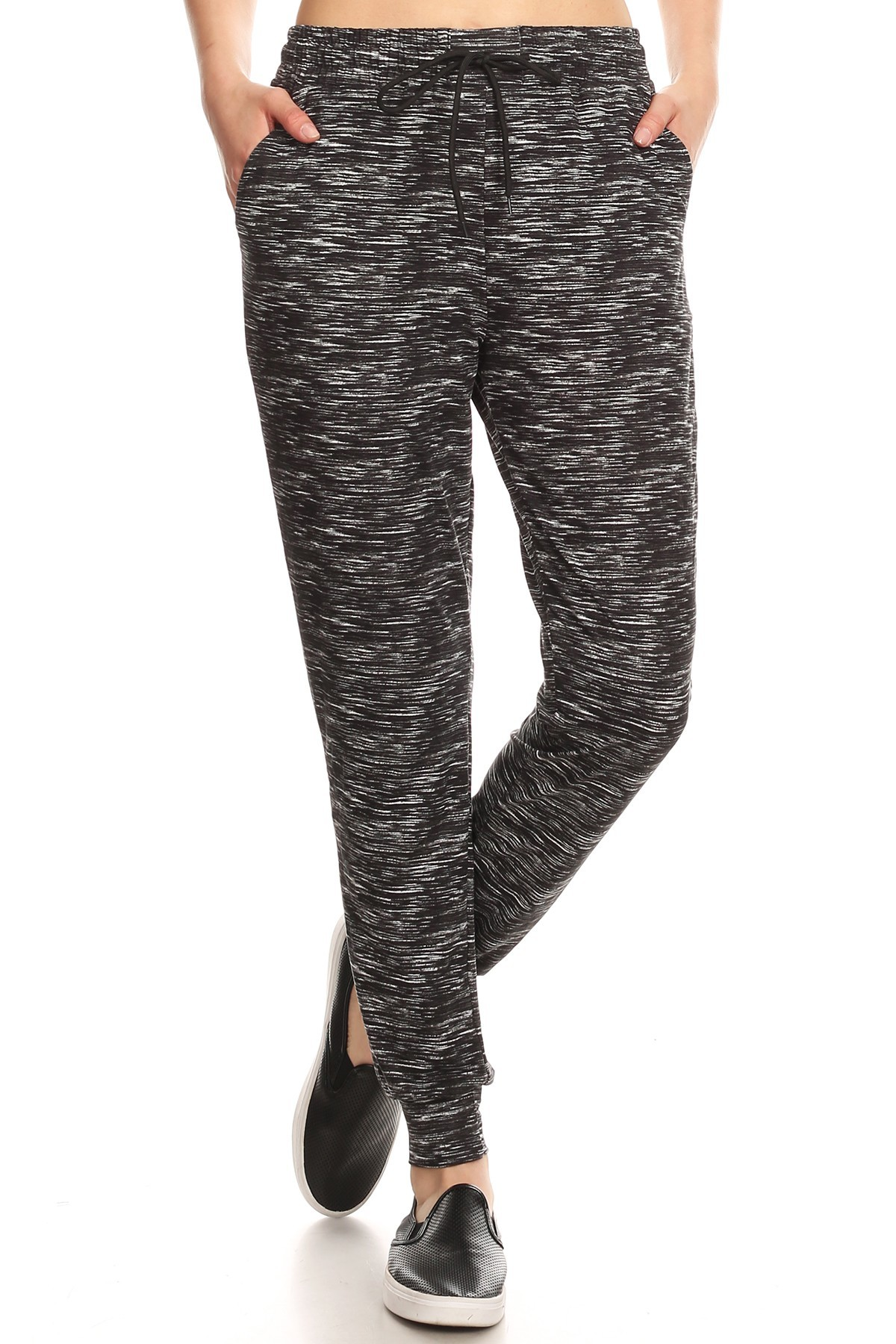 BLACK/WHITE SPACE DYE JOGGER WITH SHOE LACE TIE#8TRK36-11