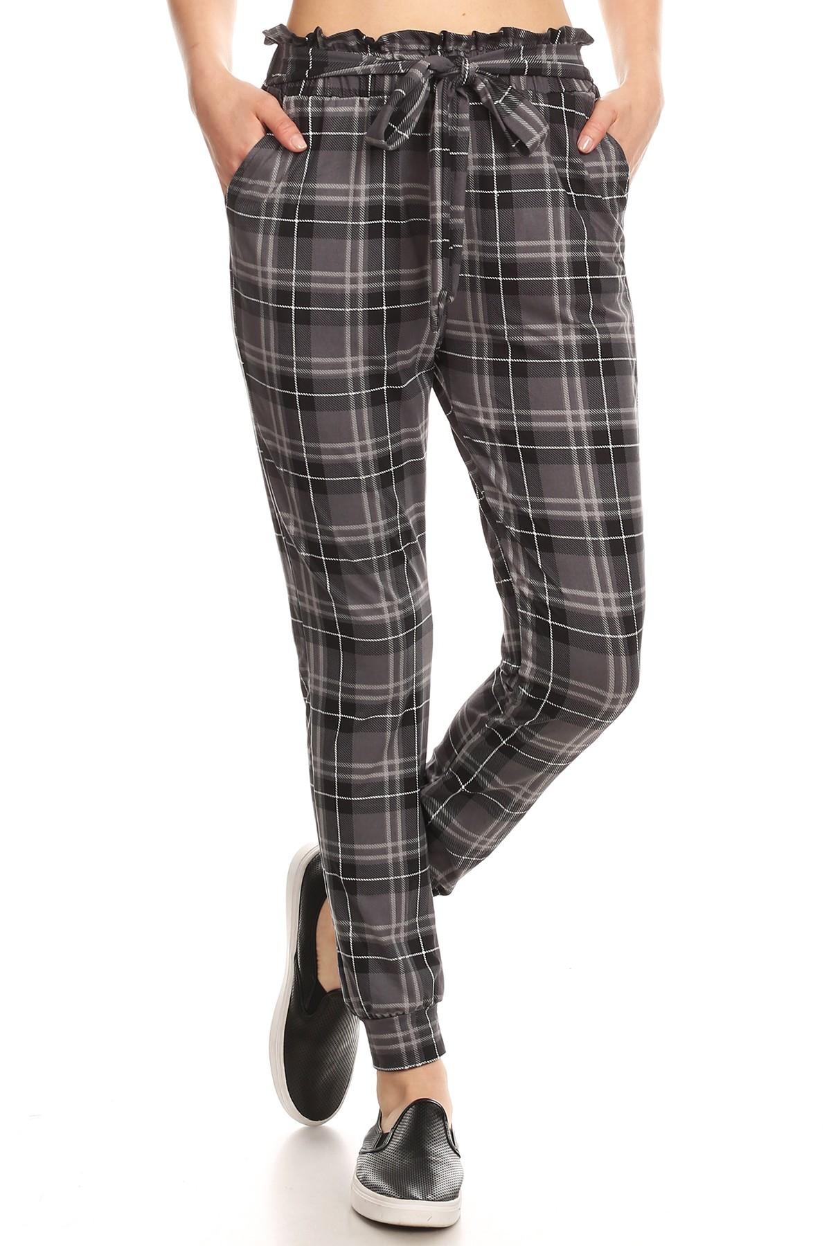 GREY/BLACK/WHITE PLAID PRINT PAPER BAG WAIST JOGGER#8TRK47-03